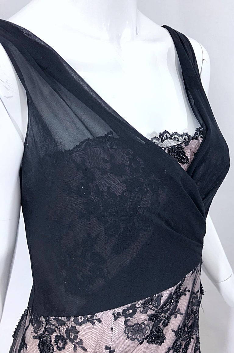 Vintage Bob Mackie Size 8 / 10 Black and Pink Beaded French Lace Evening Gown For Sale 5