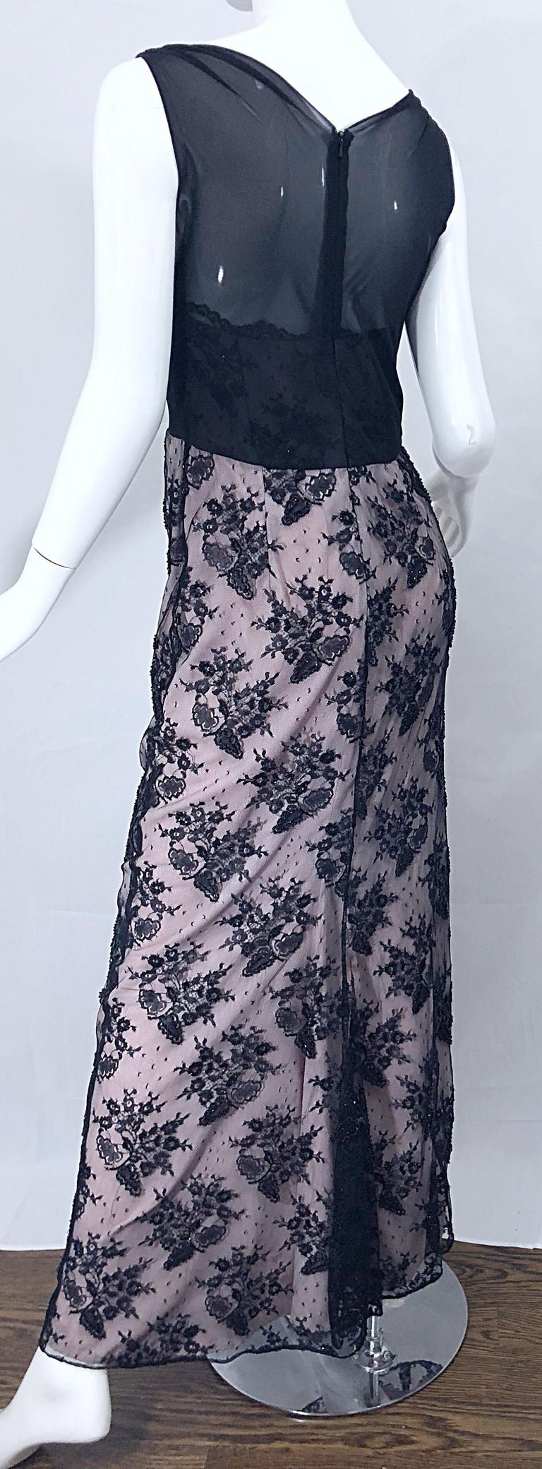 Vintage Bob Mackie Size 8 / 10 Black and Pink Beaded French Lace Evening Gown For Sale 6