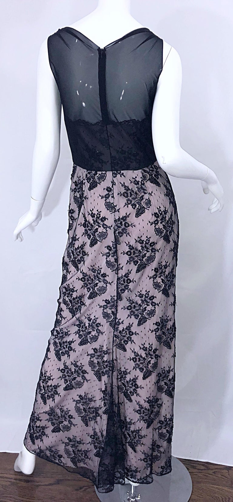 Vintage Bob Mackie Size 8 / 10 Black and Pink Beaded French Lace Evening Gown For Sale 8