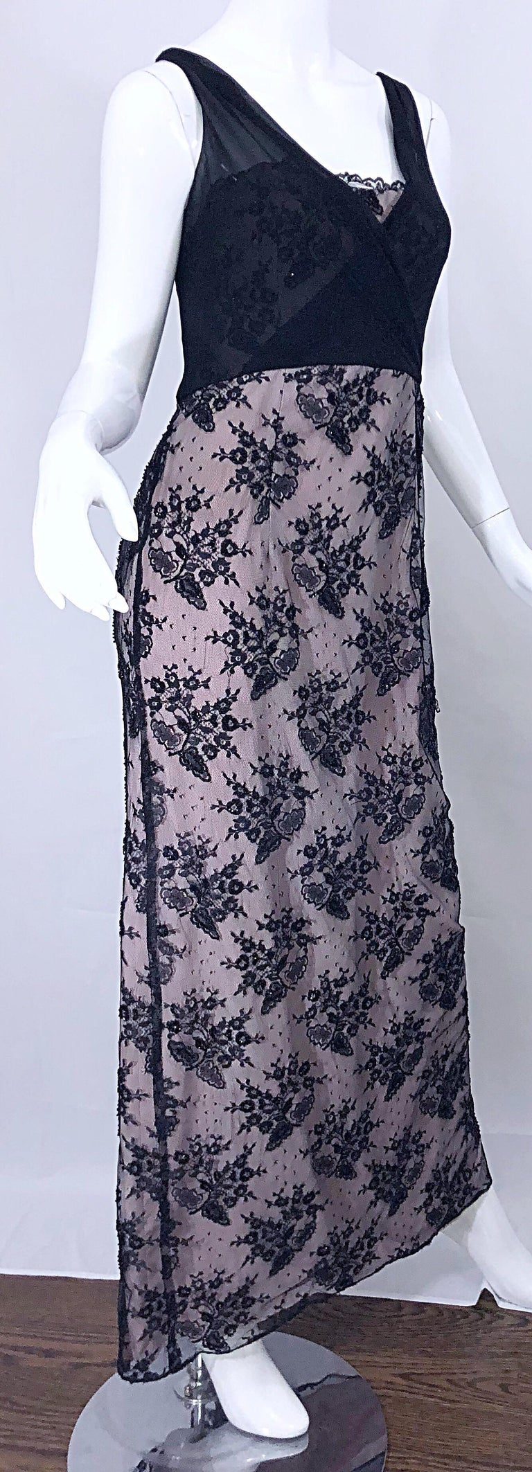 Vintage Bob Mackie Size 8 / 10 Black and Pink Beaded French Lace Evening Gown For Sale 9