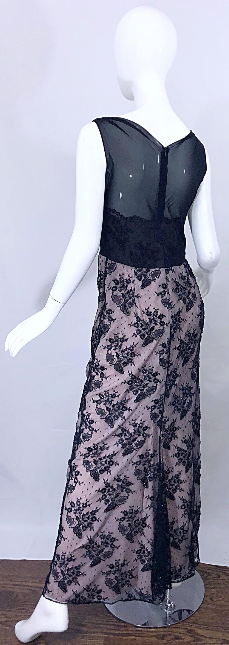 Vintage Bob Mackie Size 8 / 10 Black and Pink Beaded French Lace Evening Gown For Sale 10