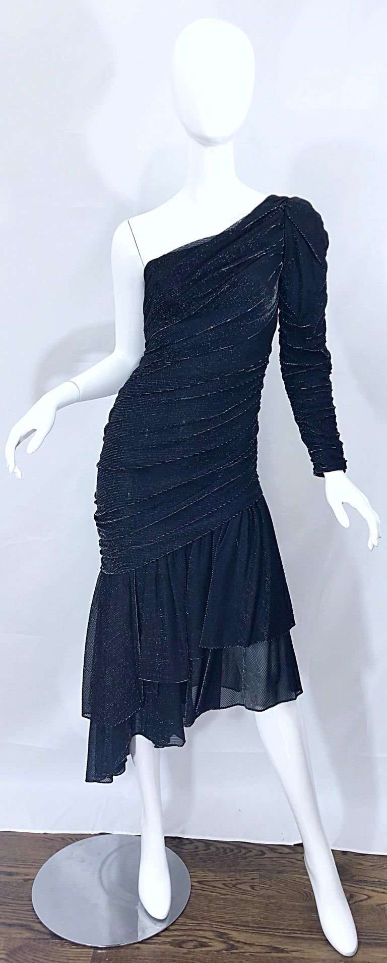 1980s Samir One Shoulder Black Metallic Rainbow Vintage 80s Cocktail Dress In Excellent Condition For Sale In Chicago, IL