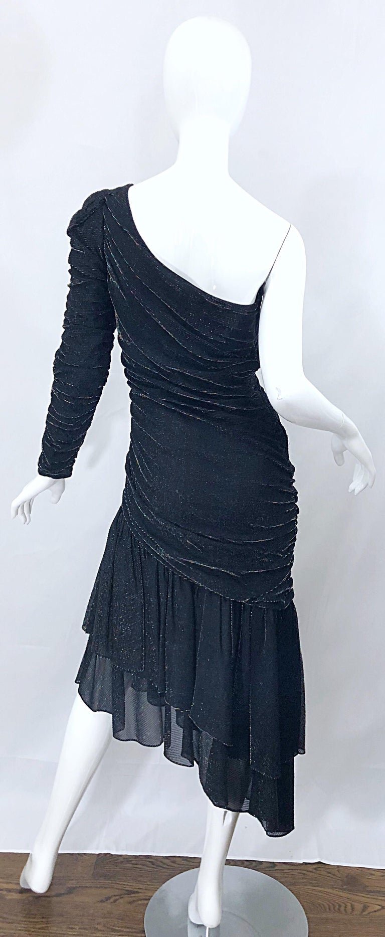 1980s Samir One Shoulder Black Metallic Rainbow Vintage 80s Cocktail Dress For Sale 1