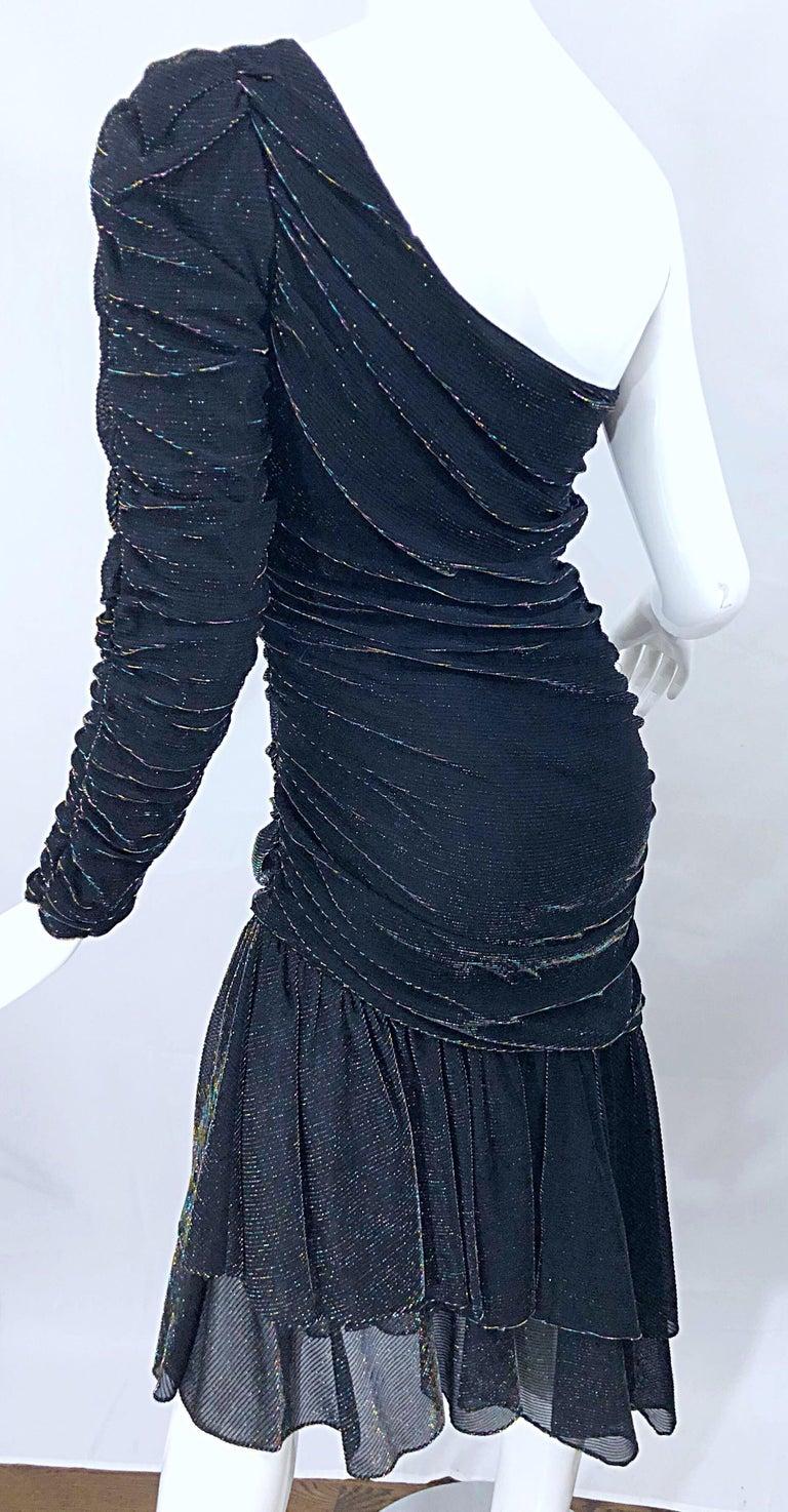 1980s Samir One Shoulder Black Metallic Rainbow Vintage 80s Cocktail Dress For Sale 3
