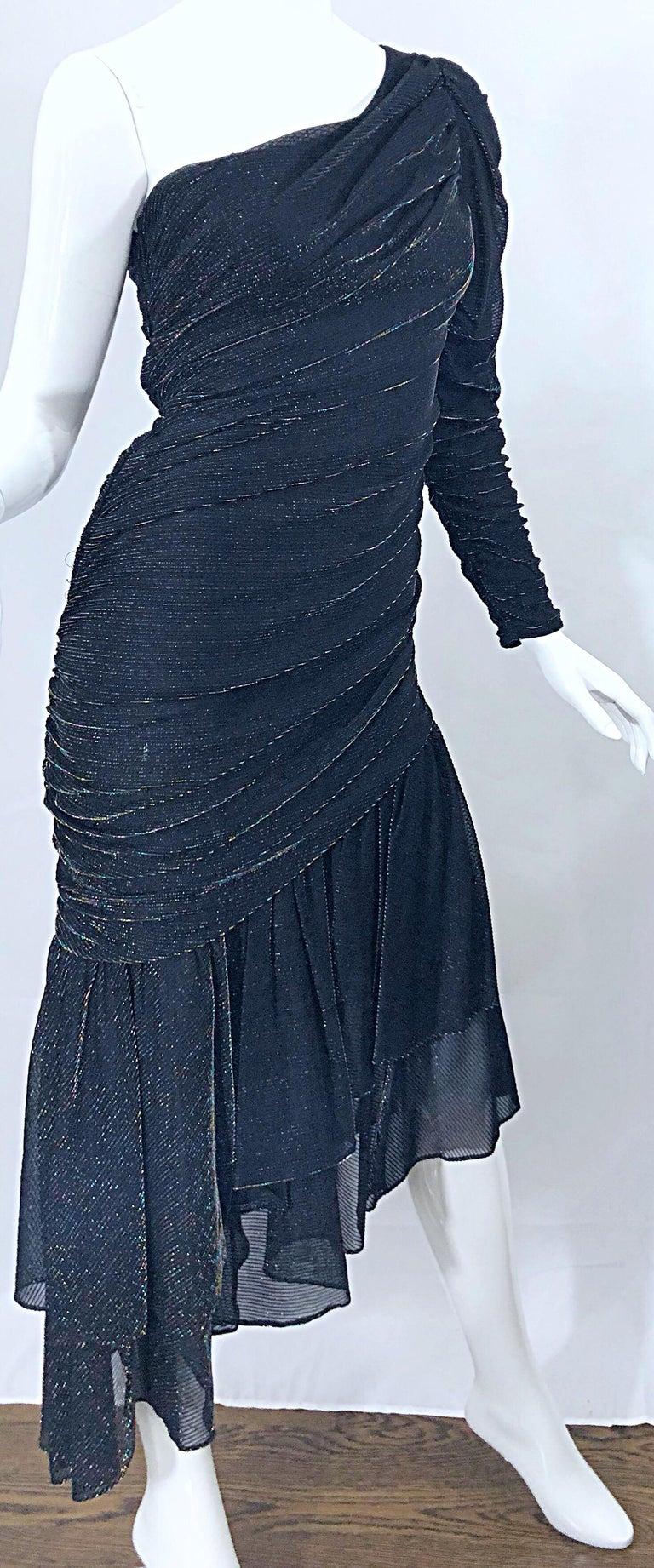1980s Samir One Shoulder Black Metallic Rainbow Vintage 80s Cocktail Dress For Sale 9