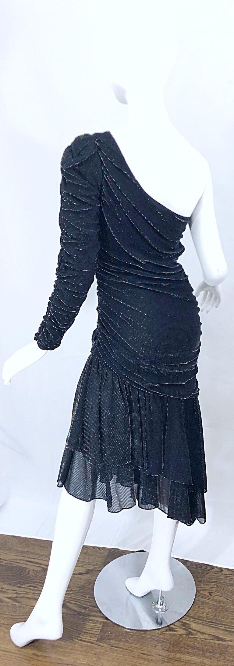 1980s Samir One Shoulder Black Metallic Rainbow Vintage 80s Cocktail Dress For Sale 8
