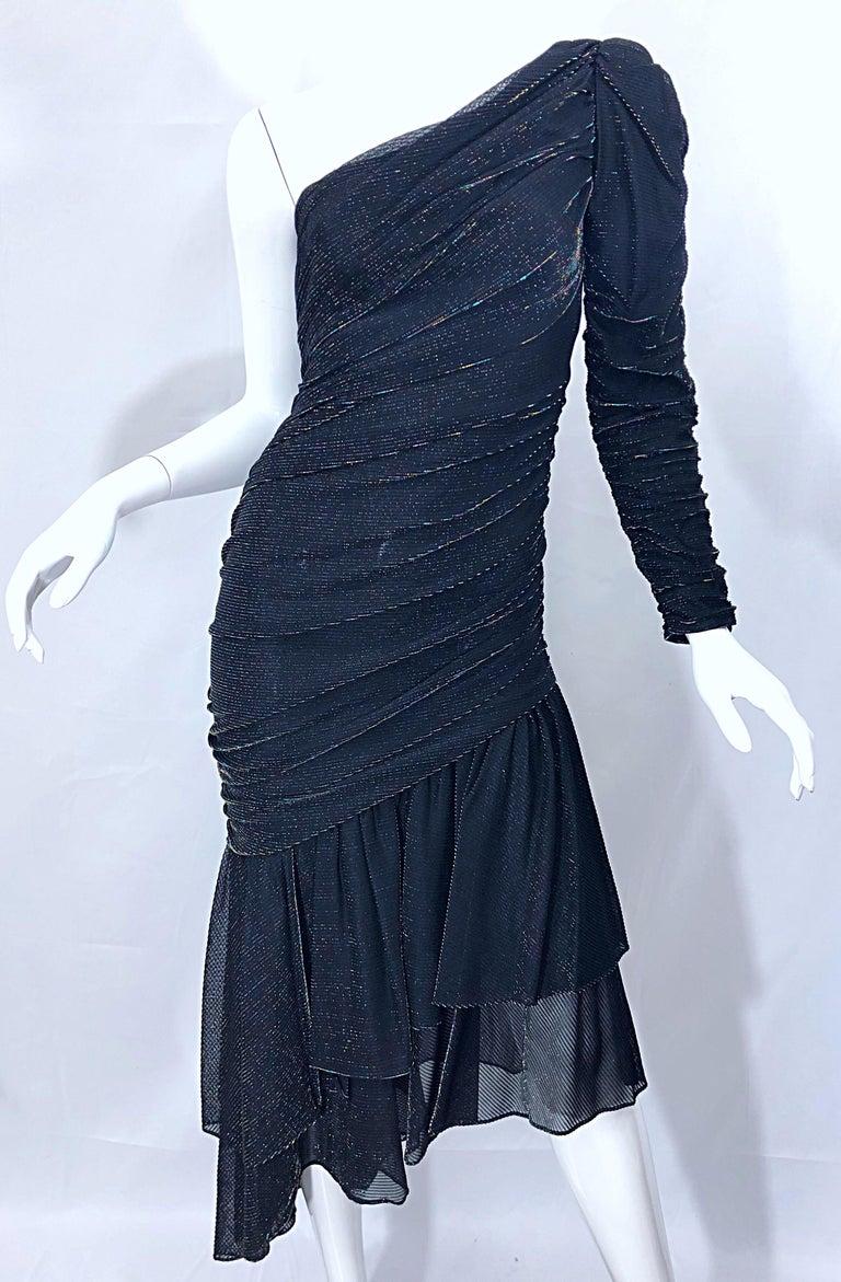 1980s Samir One Shoulder Black Metallic Rainbow Vintage 80s Cocktail Dress For Sale 10