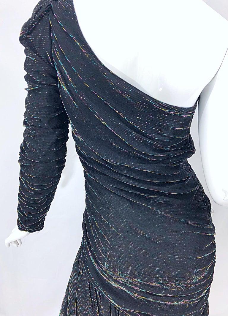 1980s Samir One Shoulder Black Metallic Rainbow Vintage 80s Cocktail Dress For Sale 4