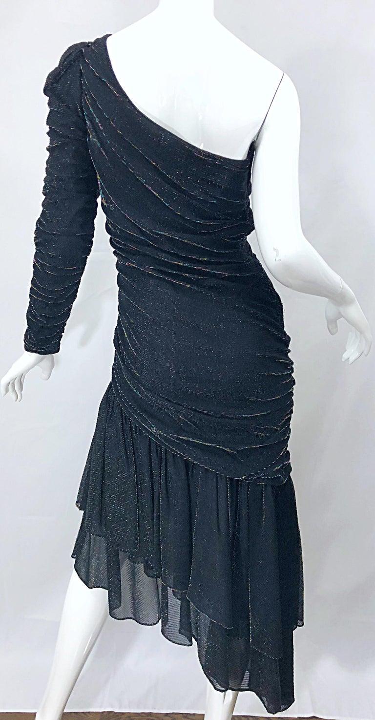 1980s Samir One Shoulder Black Metallic Rainbow Vintage 80s Cocktail Dress For Sale 5