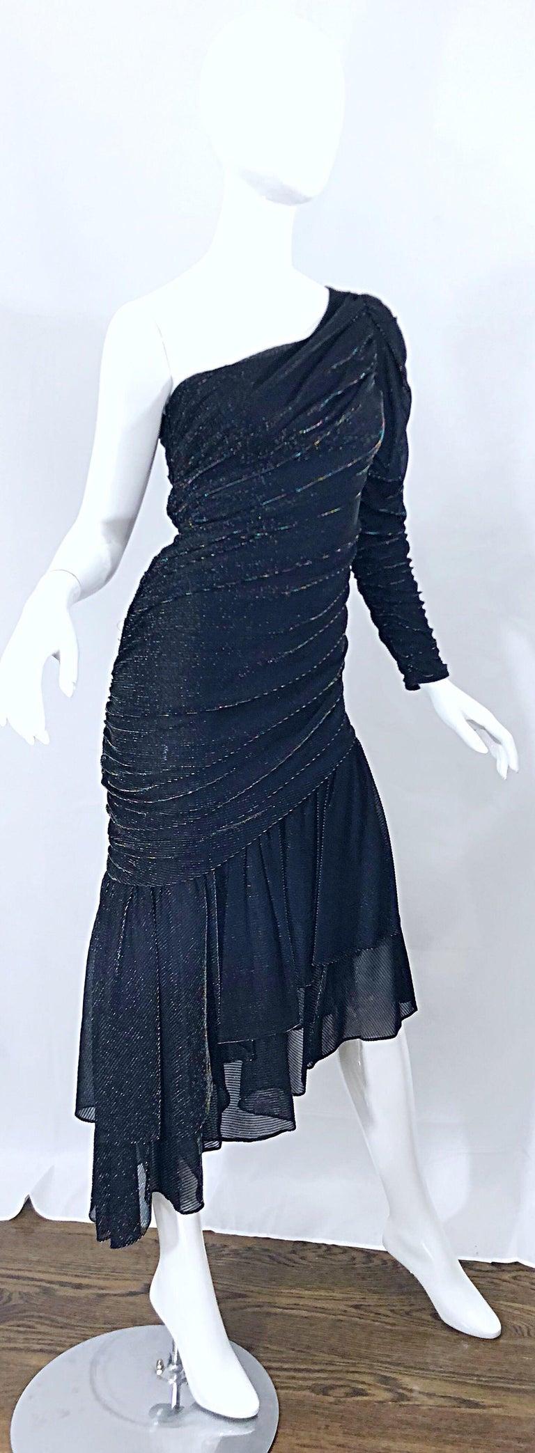 1980s Samir One Shoulder Black Metallic Rainbow Vintage 80s Cocktail Dress For Sale 6