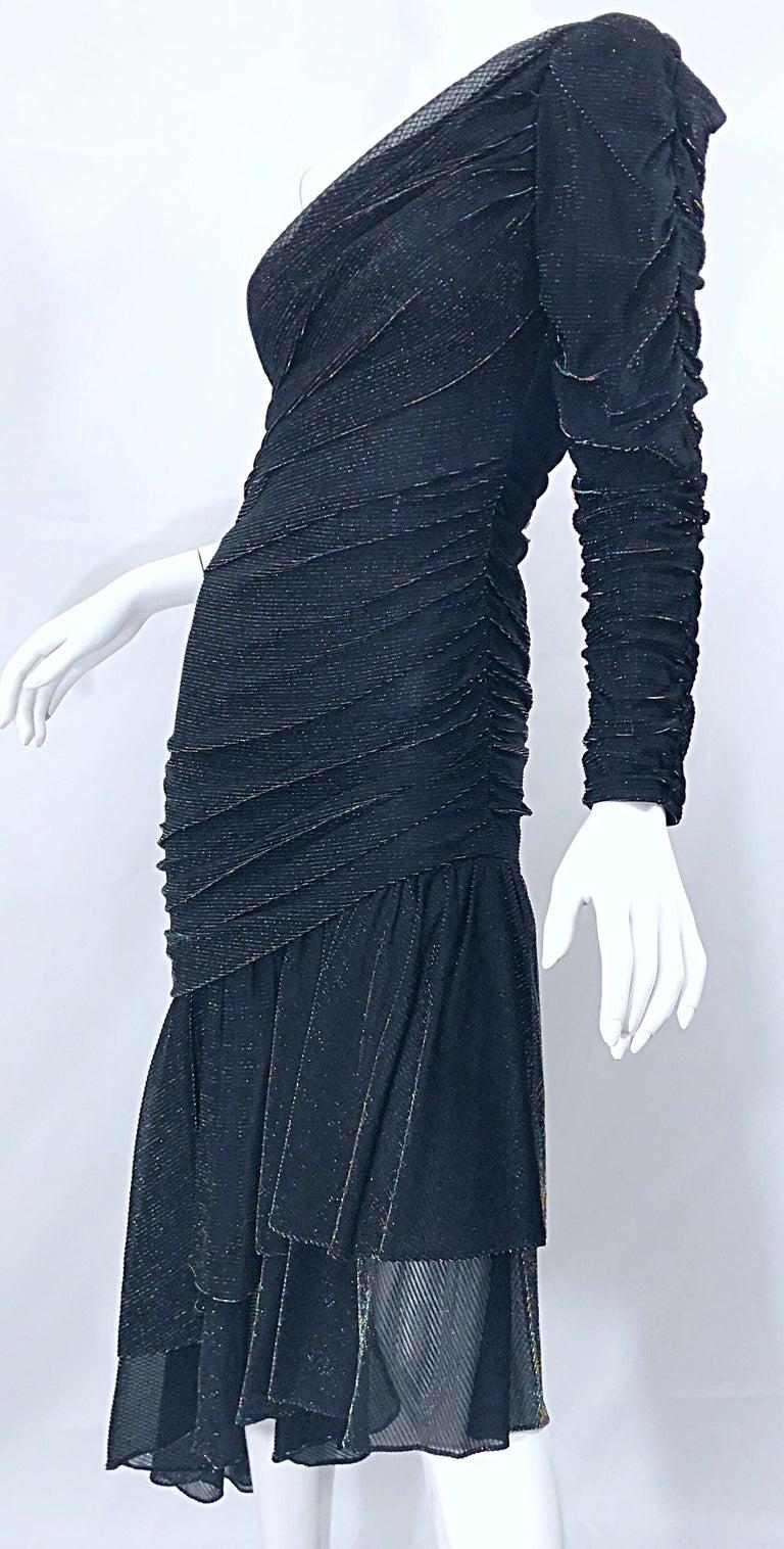 1980s Samir One Shoulder Black Metallic Rainbow Vintage 80s Cocktail Dress For Sale 7