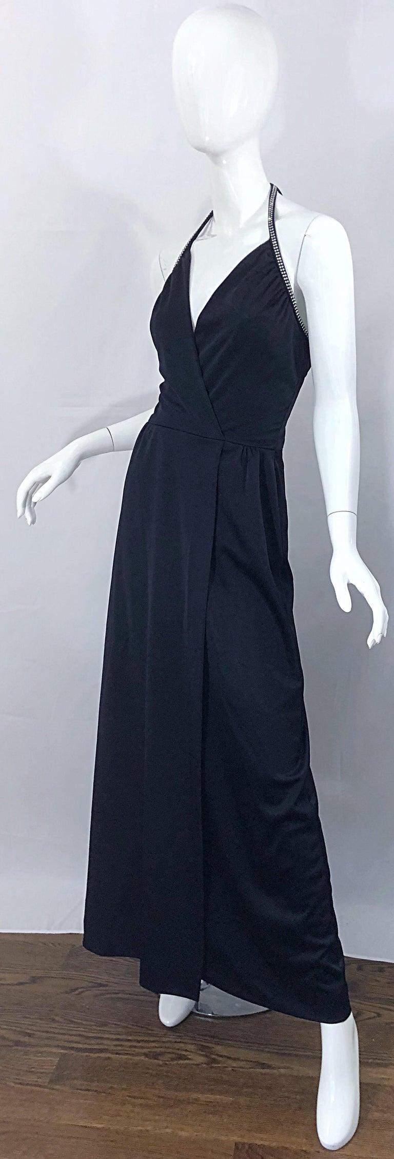 Women's 1970s Lilli Diamond Black Jersey Rhinestone Vintage 70s Wrap Maxi Dress Gown For Sale