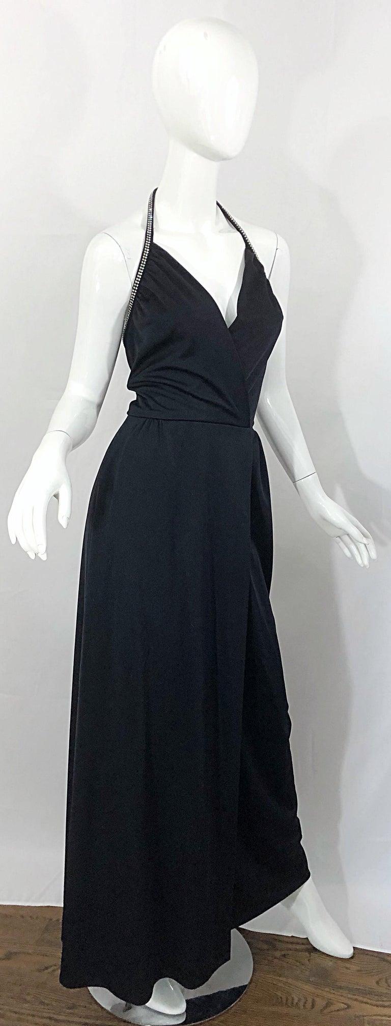 1970s Lilli Diamond Black Jersey Rhinestone Vintage 70s Wrap Maxi Dress Gown For Sale 1