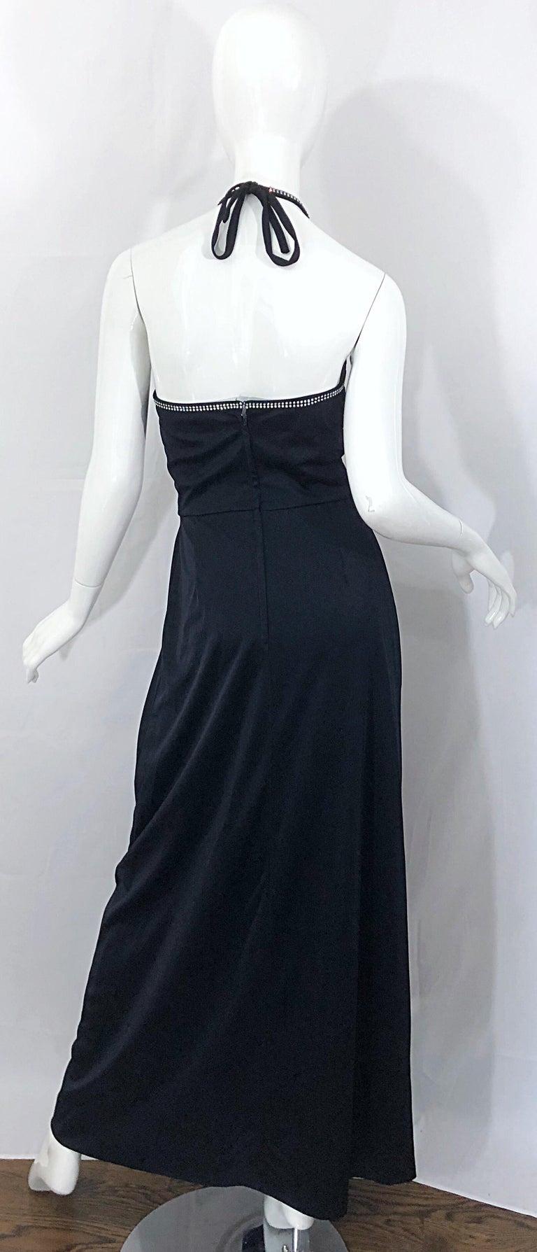 1970s Lilli Diamond Black Jersey Rhinestone Vintage 70s Wrap Maxi Dress Gown For Sale 2