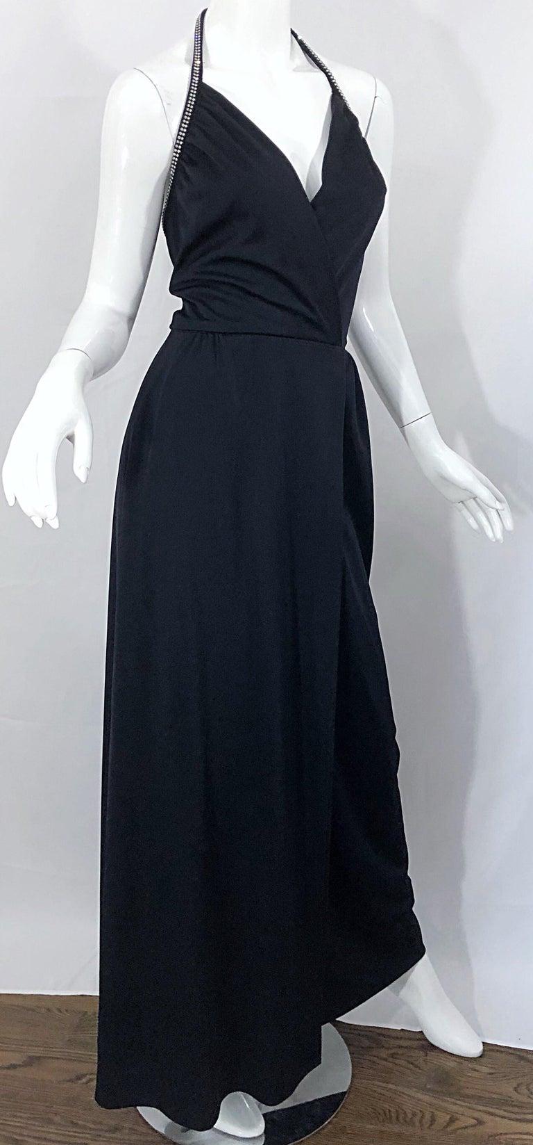 1970s Lilli Diamond Black Jersey Rhinestone Vintage 70s Wrap Maxi Dress Gown For Sale 4