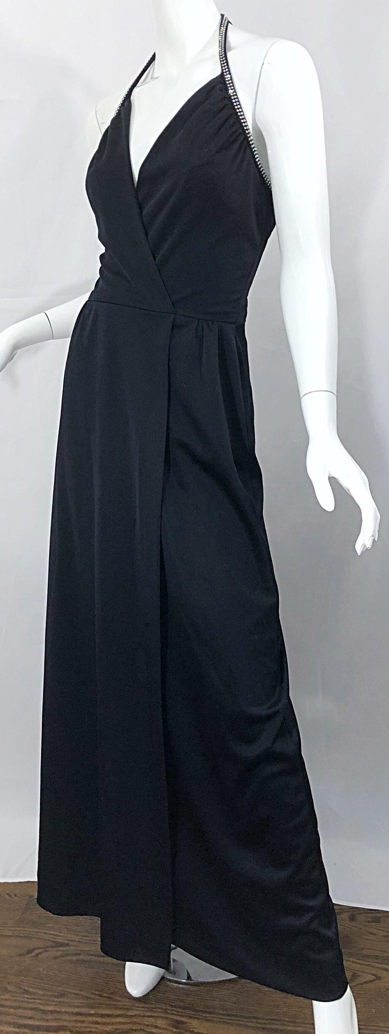 1970s Lilli Diamond Black Jersey Rhinestone Vintage 70s Wrap Maxi Dress Gown For Sale 6