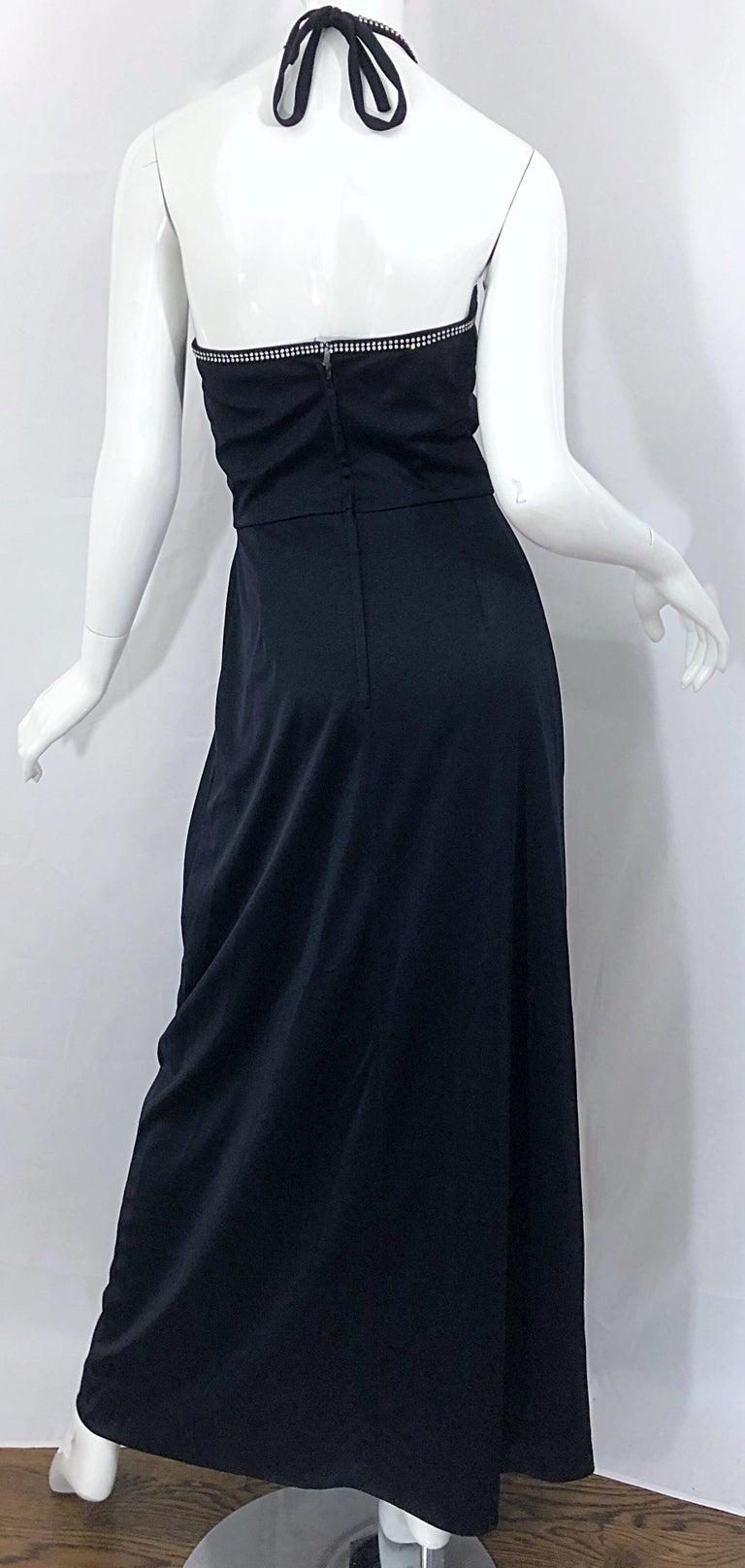 1970s Lilli Diamond Black Jersey Rhinestone Vintage 70s Wrap Maxi Dress Gown For Sale 8