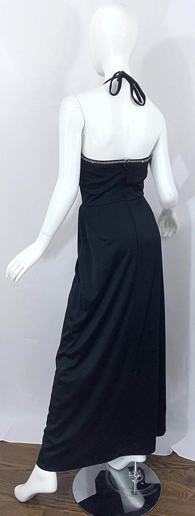 1970s Lilli Diamond Black Jersey Rhinestone Vintage 70s Wrap Maxi Dress Gown For Sale 9