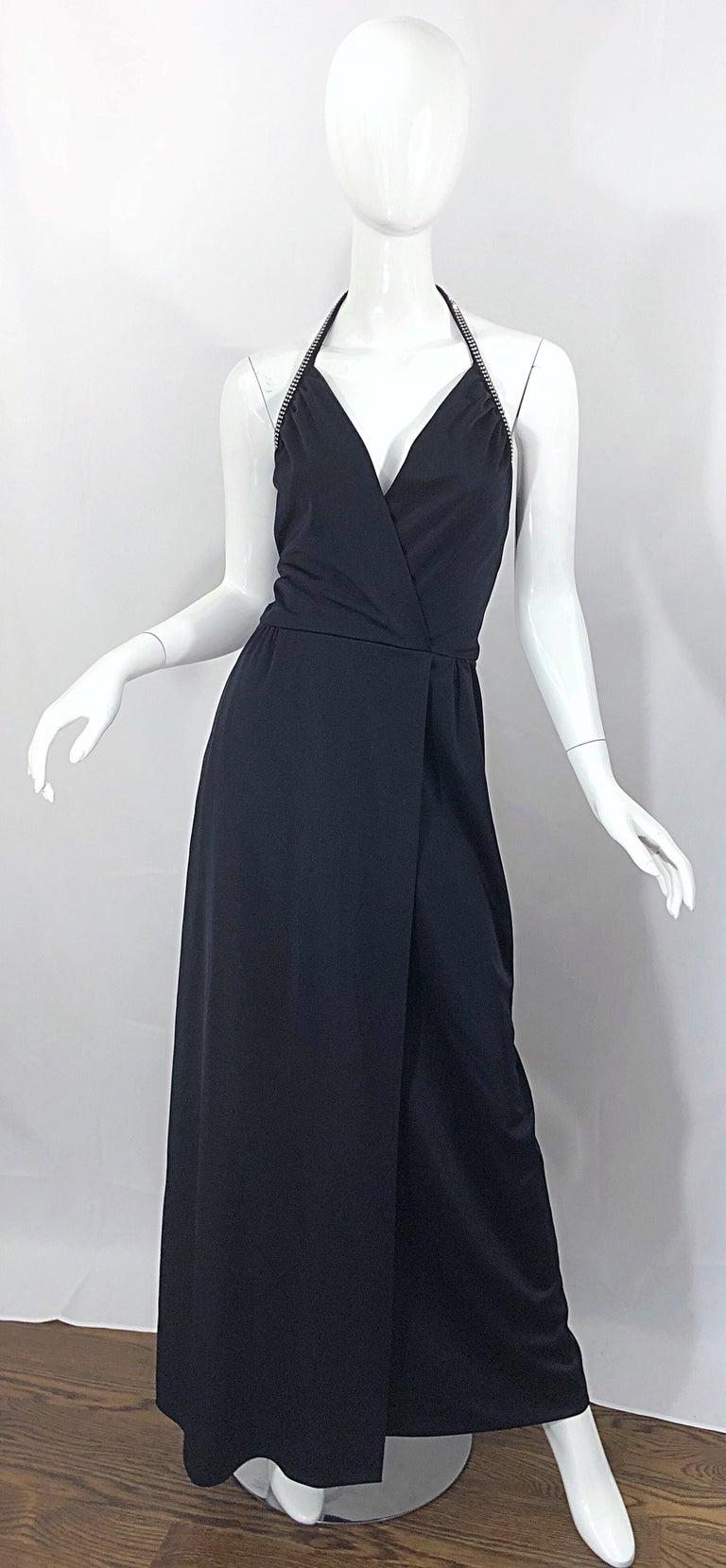 1970s Lilli Diamond Black Jersey Rhinestone Vintage 70s Wrap Maxi Dress Gown For Sale 10