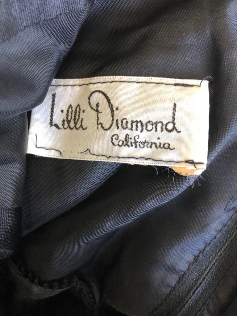1970s Lilli Diamond Black Jersey Rhinestone Vintage 70s Wrap Maxi Dress Gown For Sale 11