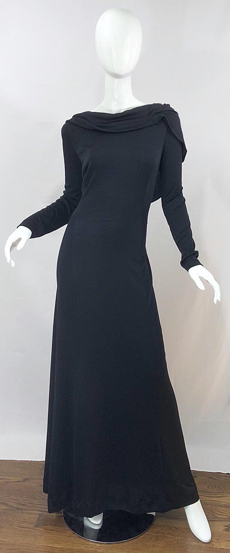 Black 1970s Luis Estevez Dramatic Low Back High Neck Vintage 70s Jersey Grecian Gown