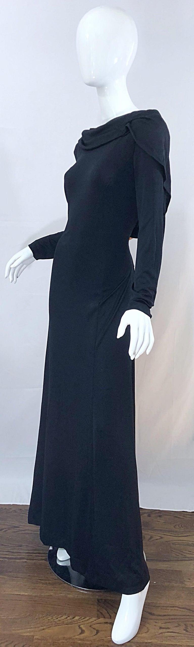 Women's 1970s Luis Estevez Dramatic Low Back High Neck Vintage 70s Jersey Grecian Gown