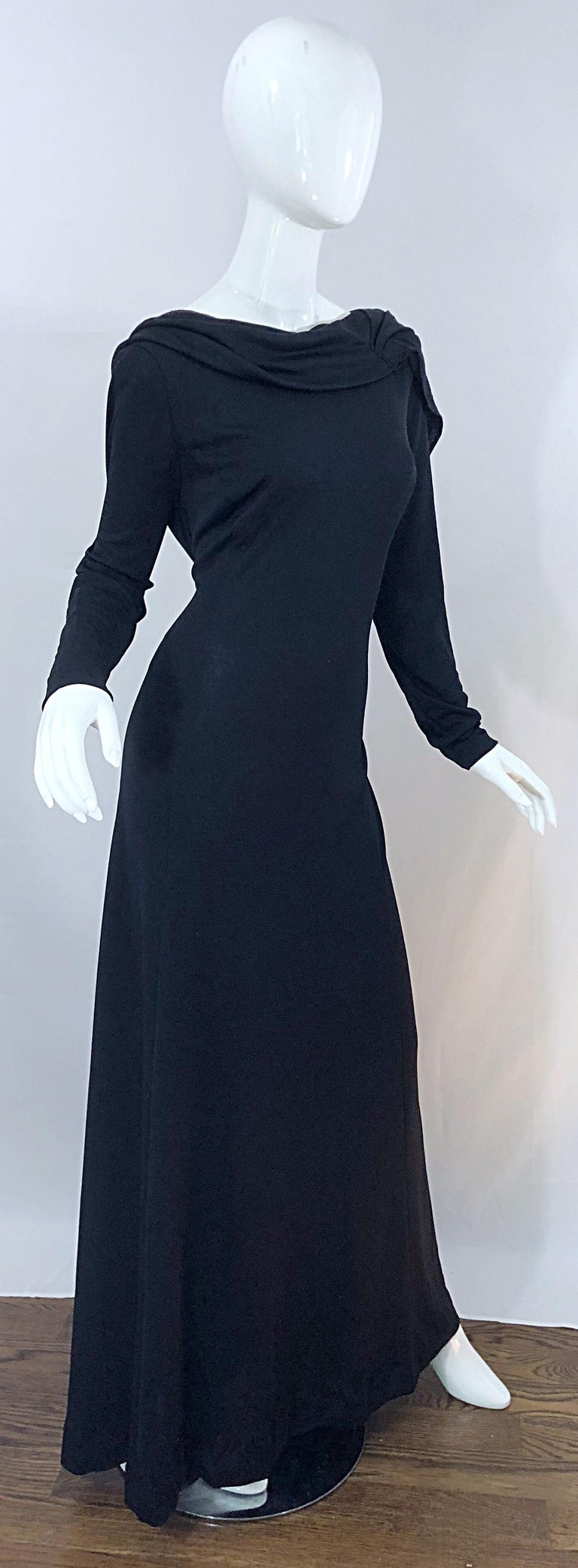 1970s Luis Estevez Dramatic Low Back High Neck Vintage 70s Jersey Grecian Gown In Excellent Condition In Chicago, IL