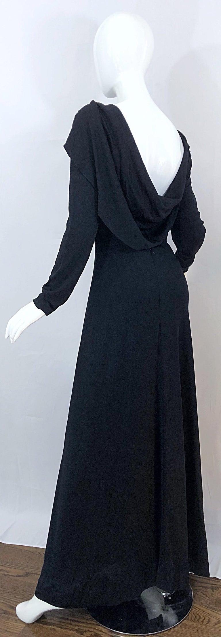 1970s Luis Estevez Dramatic Low Back High Neck Vintage 70s Jersey Grecian Gown 1