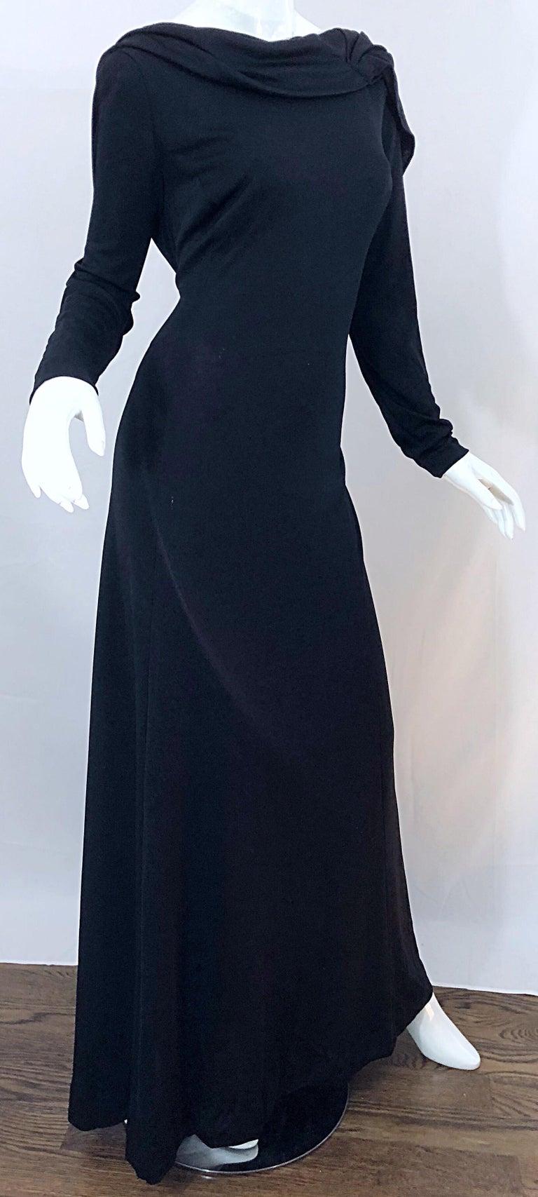 1970s Luis Estevez Dramatic Low Back High Neck Vintage 70s Jersey Grecian Gown 2