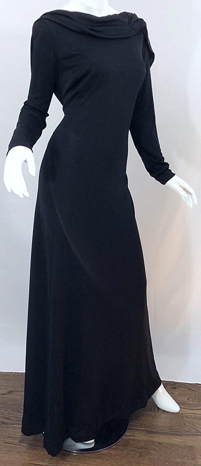 1970s Luis Estevez Dramatic Low Back High Neck Vintage 70s Jersey Grecian Gown 5