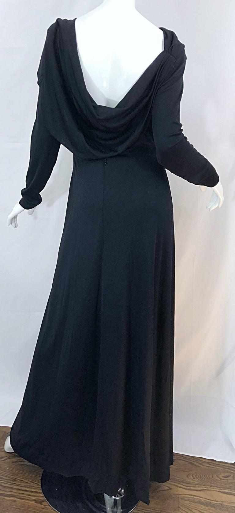 1970s Luis Estevez Dramatic Low Back High Neck Vintage 70s Jersey Grecian Gown 6