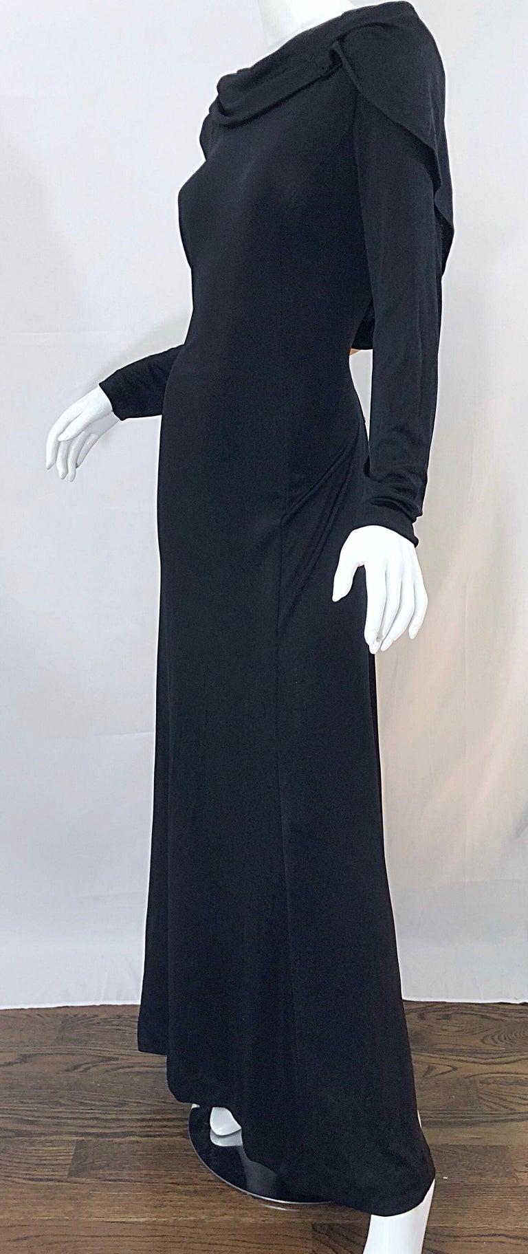1970s Luis Estevez Dramatic Low Back High Neck Vintage 70s Jersey Grecian Gown 7