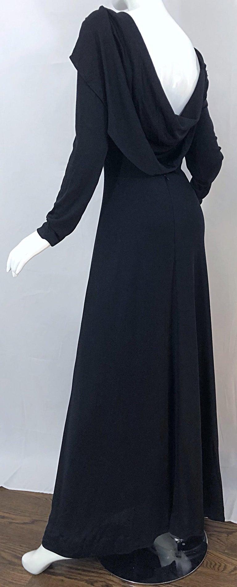 1970s Luis Estevez Dramatic Low Back High Neck Vintage 70s Jersey Grecian Gown 8