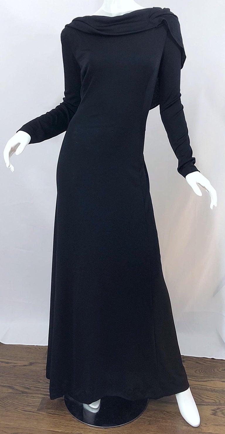 1970s Luis Estevez Dramatic Low Back High Neck Vintage 70s Jersey Grecian Gown 9