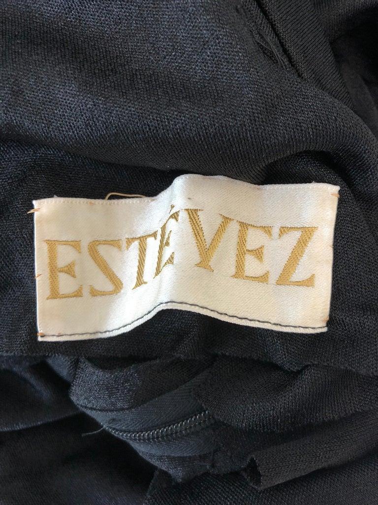1970s Luis Estevez Dramatic Low Back High Neck Vintage 70s Jersey Grecian Gown 10