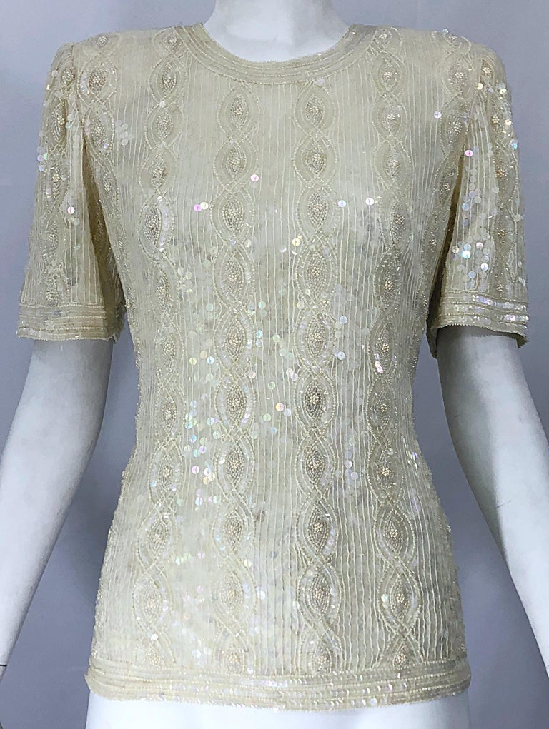 a163198459b299 Beautiful Vintage Ivory Off White Sequin Beaded Pearl Encrusted Silk Blouse  Top For Sale 8