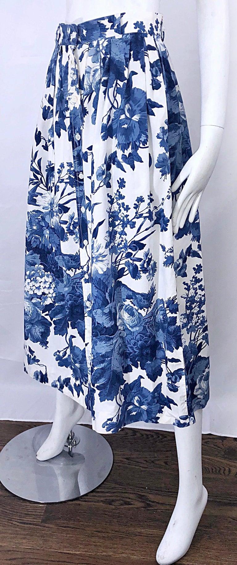 Vintage Ralph Lauren 1990s Blue White Floral Print 90s