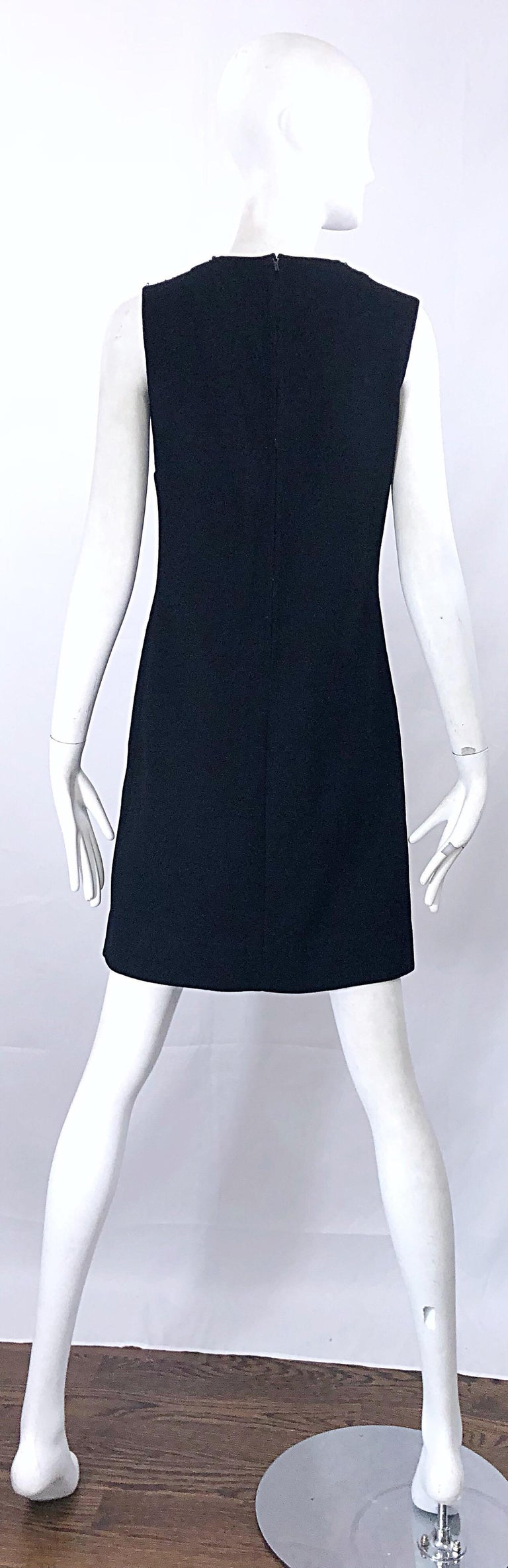 Chic 1960s St Andrews Black Zephyr Wool British Hong Kong Beaded 60s Shift Dress For Sale 1