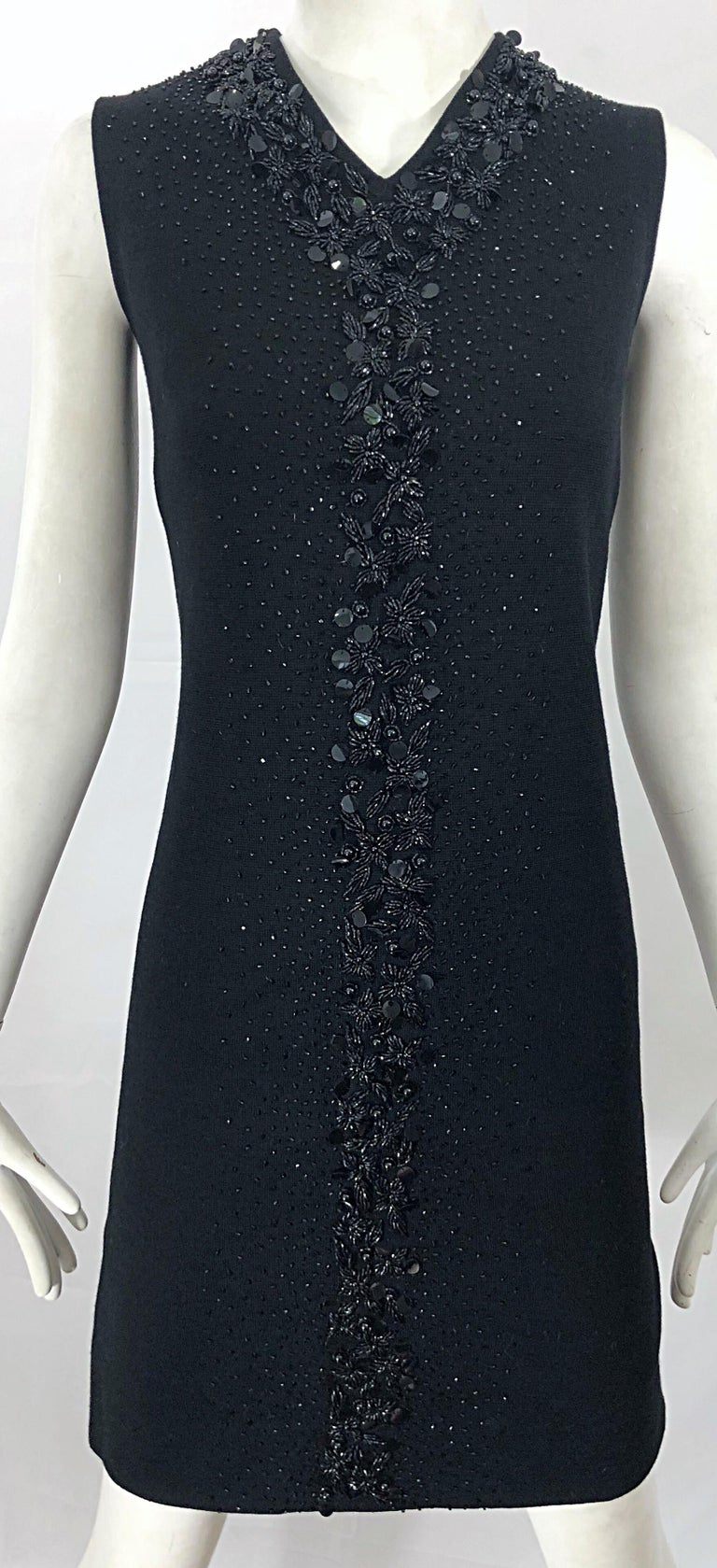 Chic 1960s St Andrews Black Zephyr Wool British Hong Kong Beaded 60s Shift Dress For Sale 2