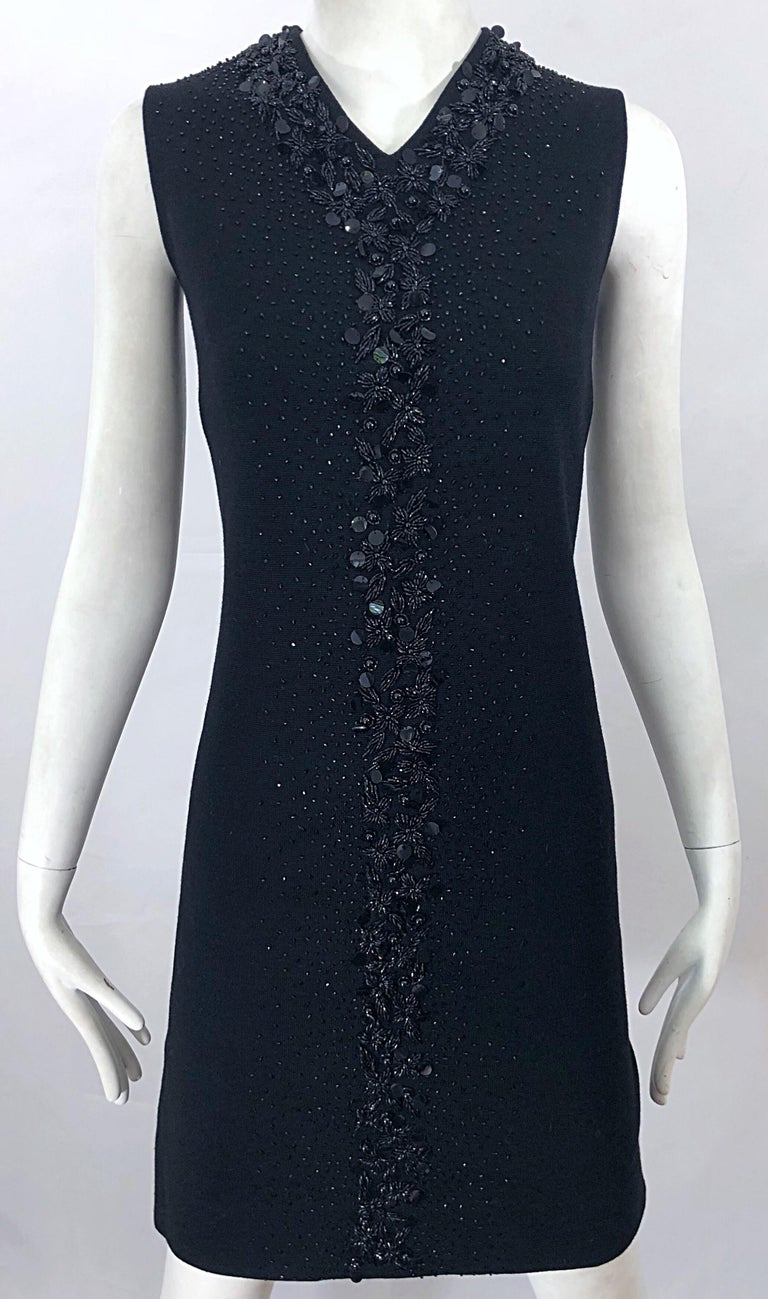 Chic 1960s St Andrews Black Zephyr Wool British Hong Kong Beaded 60s Shift Dress For Sale 7