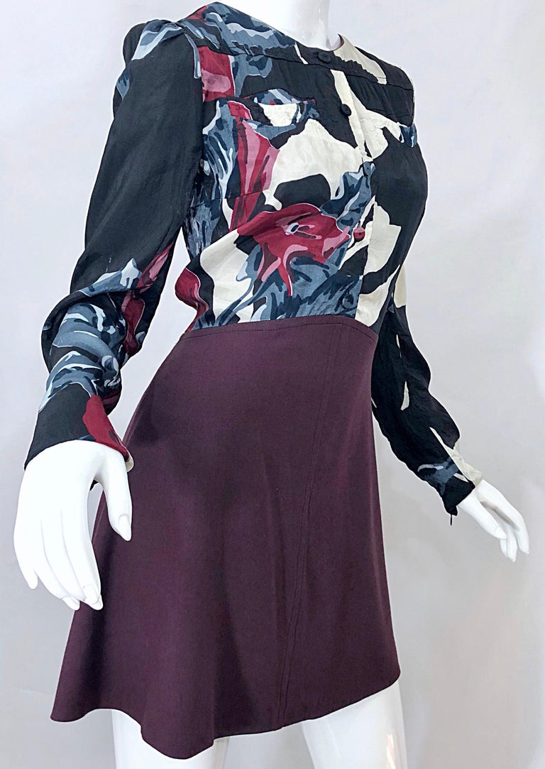 Women's New Carven Fall 2009 Size 42 / 10 12 Burgundy + Blue + Black Abstract Mini Dress For Sale
