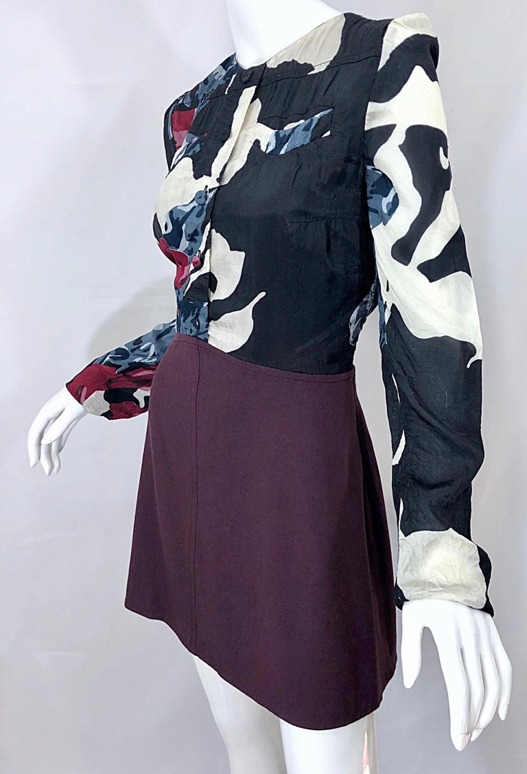 New Carven Fall 2009 Size 42 / 10 12 Burgundy + Blue + Black Abstract Mini Dress For Sale 2