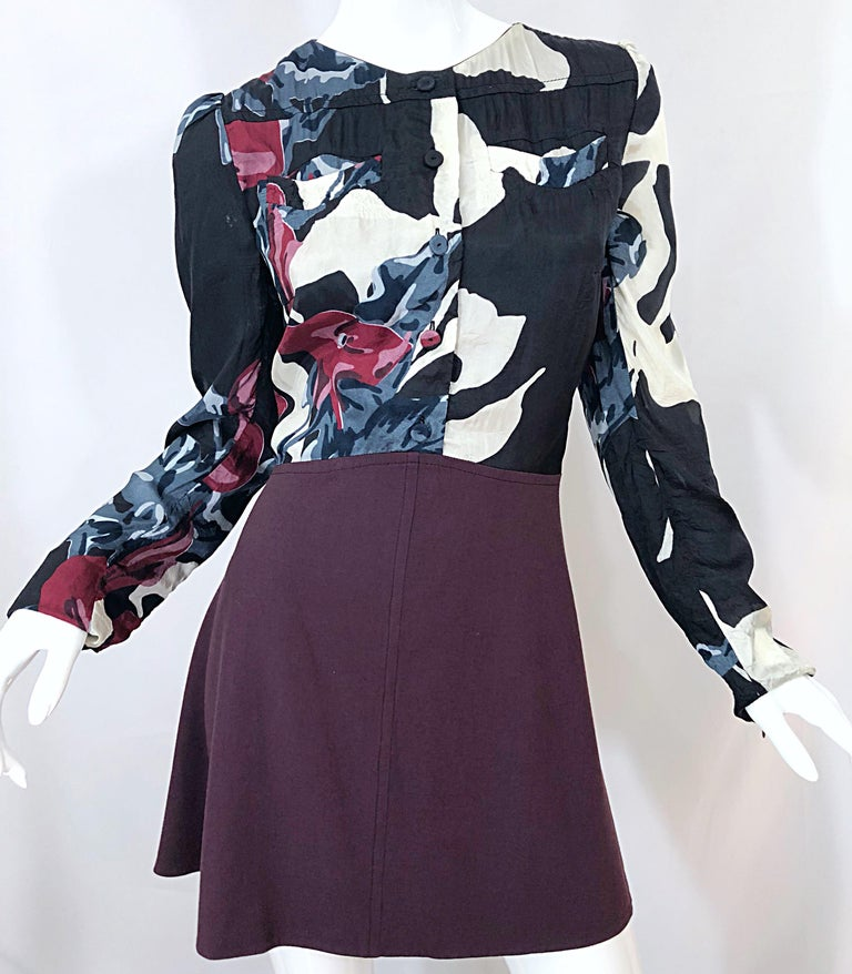 New Carven Fall 2009 Size 42 / 10 12 Burgundy + Blue + Black Abstract Mini Dress For Sale 3