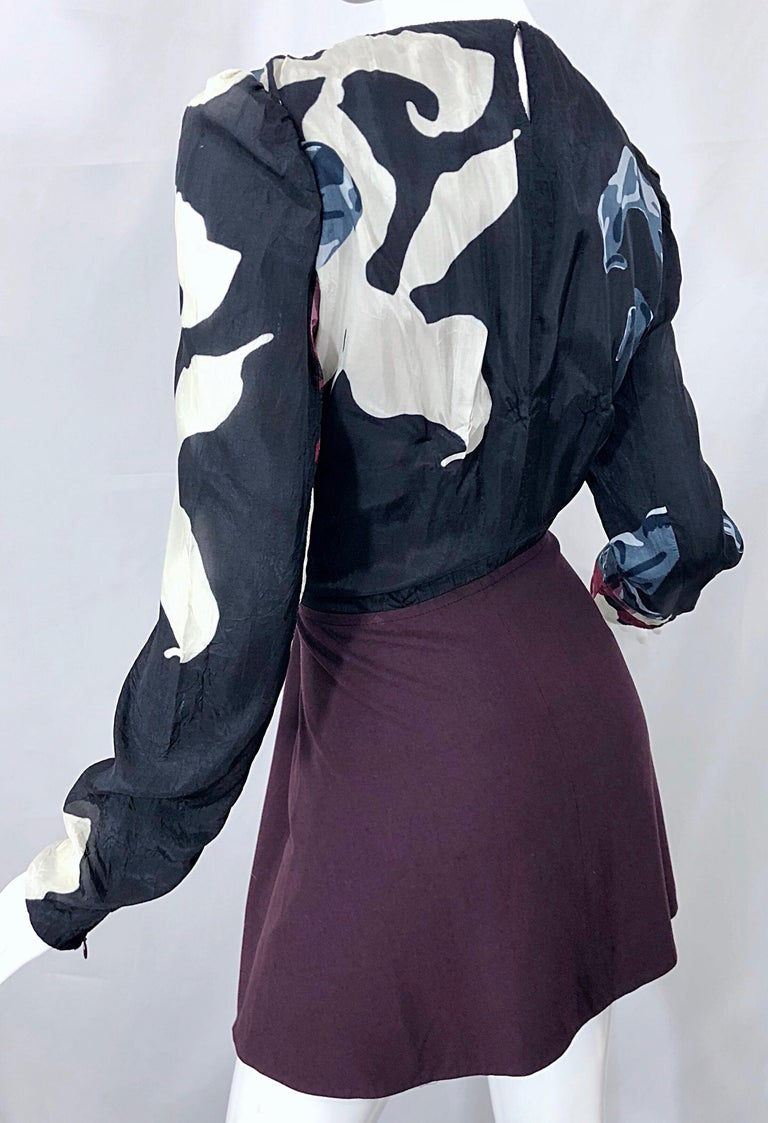 New Carven Fall 2009 Size 42 / 10 12 Burgundy + Blue + Black Abstract Mini Dress For Sale 4