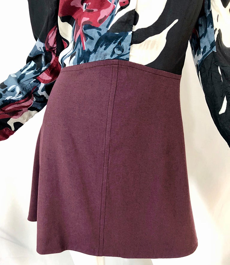 New Carven Fall 2009 Size 42 / 10 12 Burgundy + Blue + Black Abstract Mini Dress For Sale 5