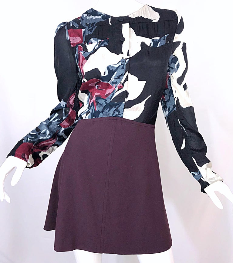 New Carven Fall 2009 Size 42 / 10 12 Burgundy + Blue + Black Abstract Mini Dress For Sale 7
