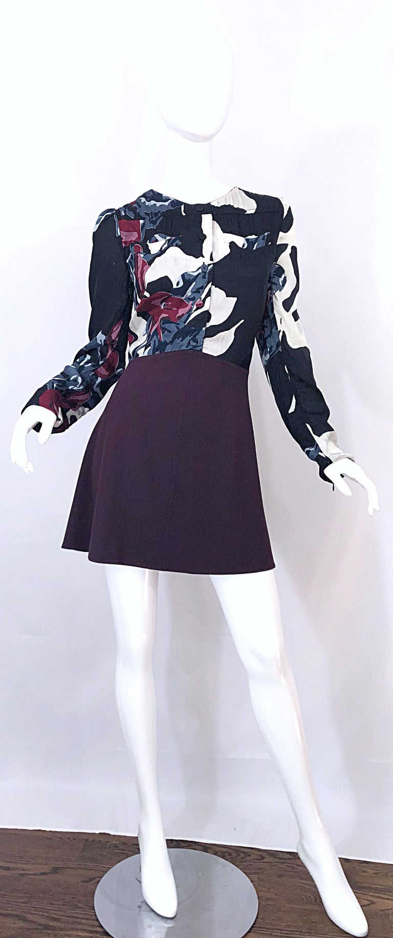 New Carven Fall 2009 Size 42 / 10 12 Burgundy + Blue + Black Abstract Mini Dress For Sale 8