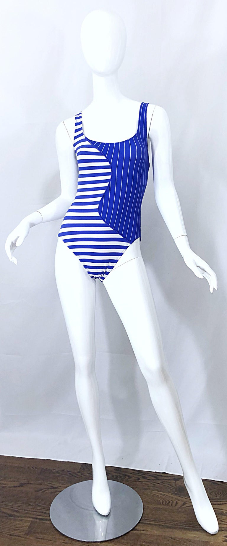 Vintage Bill Blass 1990s Nautical Blue White Striped One Piece Swimsuit Bodysuit For Sale 8