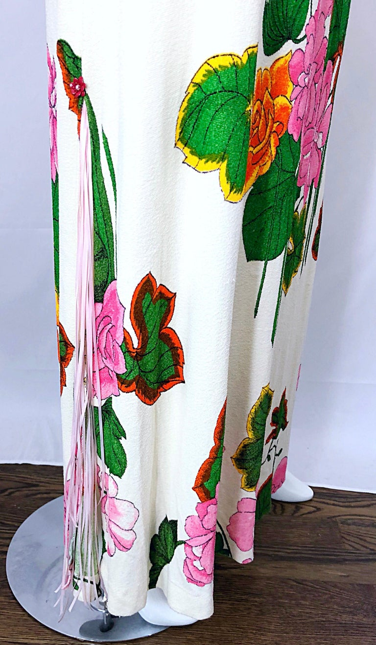 1970s Does 1930s Terry Cloth Fringed Hawaiian Print