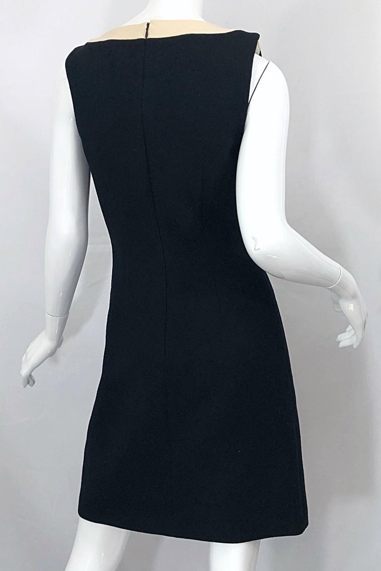 Dolce & Gabbana Size 42 / US 6 Black and Ivory 1990s Does 1960s Wool Shift Dress For Sale 6